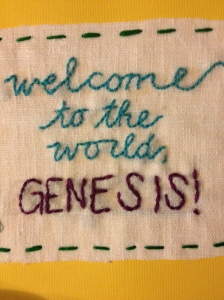 My lovely friend that I studied abroad with hand stitched a card for Genesis, how cool is that?!